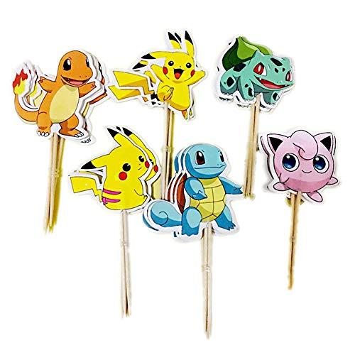 BESTZY Tortendeko Geburtstag 120PCS Pokémon Cake Topper Geburtstags Party Pokémon Pikachu Cupcake Figuren Kuchen Dekoration Lieferunge für Kinder Geburtstag Baby Mädchen Junge