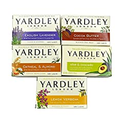 Yardley London soap bath bar bundle - 10 items: cocoa butter, oatmeal & almond, English lavender, aloe & avocado 4.25 oz bars (pack of 10 bars, two of each) 2 bar English lavender with pure lavender extracts and essential oils - calms and soothes 2 b...