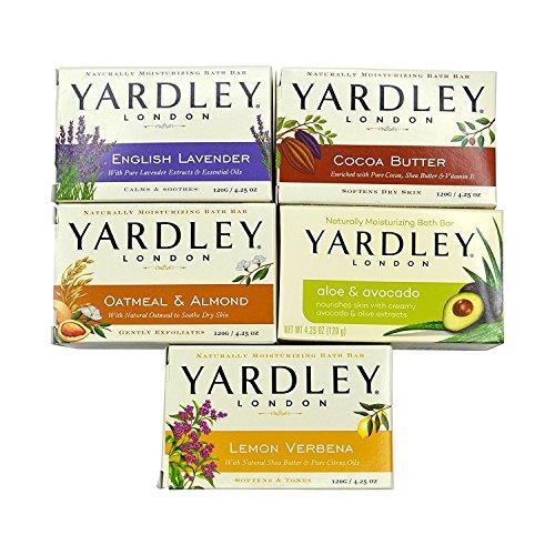 Yardley London - Paquete de barra de baño de jabón - 10 barras: Lavanda inglesa, avena y almendra, aloe y aguacate, manteca de cacao, verbena de limón 4.25 onzas.