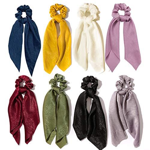 8pcs Gomas para el pelo de gasa Bowknot Banda de pelo de seda satinada Accesorios para el cabello con soporte de cola de caballo elástico para mujeres Niñas (Colores profundos)