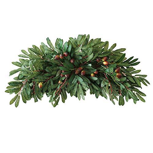 SMLJFO Guirnalda artificial de oliva artificial para puerta de la vid con ramas de olivo, para primavera/verano, para decoración del hogar, boda, 30 pulgadas