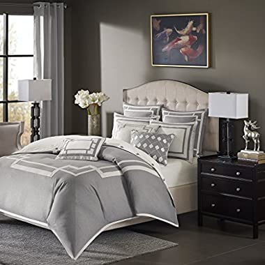 Madison Park Signature Savoy Queen Size Bed Comforter Duvet 2-in-1 Set Bed in A Bag - Grey, Geometric – 8 Piece Bedding Sets – Ultra Soft Microfiber Bedroom Comforters