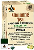 TEA YARD Slimming Green Tea Bags for Weight Loss with Garcinia Cambogia, Lemongrass, Cinnamon, Ginger & Coleus for Improved Metabolism, Digestion & Appetite Control Natural Whole Leaf (25 Teabags)