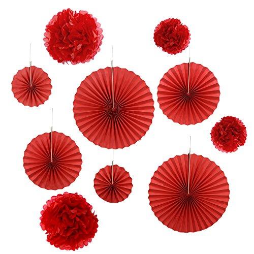 Gardeningwill Lot de 10 éventails en papier rouge à suspendre pour décoration de fête d'anniversaire ou de mariage