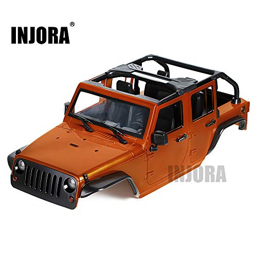 INJORA RC Carrocería Kit 313mm Distancia Entre Ejes Corpo Cuerpo Jeep Wrangler Body Car Shell para 1/10 RC Crawler Axial SCX10 90046 (Naranja)