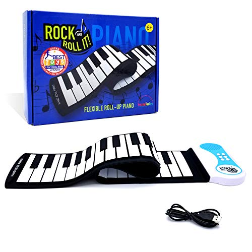 MUKIKIM Rock and Roll It - Piano. Roll Up Flexible Classic Toy Piano Keyboard for Kids. 49 Keys Hand Roll Silicone Portable Piano Pad. Flexible & Foldable.