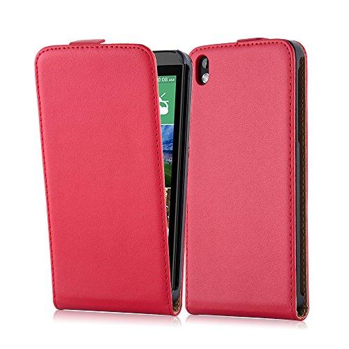 Cadorabo Hülle für HTC Desire 816 in Chili ROT - Handyhülle im Flip Design aus glattem Kunstleder - Hülle Cover Schutzhülle Etui Tasche Book Klapp Style