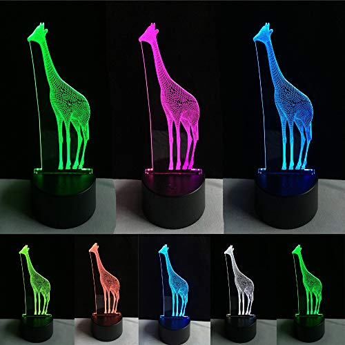 Dierlijke giraf 3D illusie lamp LED nachtlampje met 7 kleuren wijzigen en afstandsbediening verjaardag en kerstcadeau voor kinderen slaapkamer decoratieve tafellamp