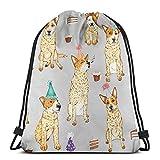 Yuanmeiju Cattle Dog Party Red Heeler by Artwork by AK Shoulder Bolsa con cordón Backpack String Bags School Rucksack Gym Sport Bag Lightweight