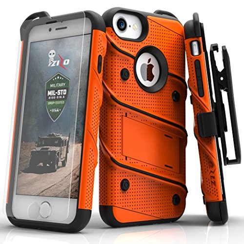 Zizo iPhone 8 Case/iPhone 7 Case Bolt Series w/ iPhone 8 Screen Protector  Kickstand 12 ft Military Grade Drop Tested Holster Belt Clip