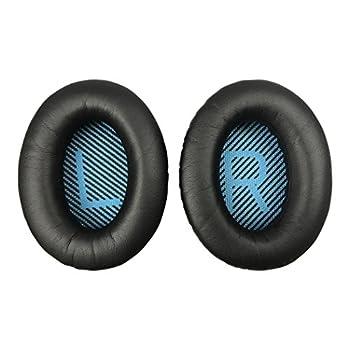 Replacement Ear-Pads for Bose QuietComfort QC 2 15 25 35 Ear Cushions for QC2 QC15 QC25 QC35 SoundLink/SoundTrue Around-Ear II AE2 Headphones  Black