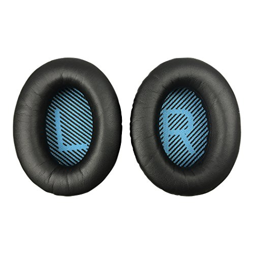 Replacement Ear Pads Earpads for Bose QuietComfort QC 2 15 25 35 Ear Cushion for QC2 QC15 QC25 QC35 SoundLink SoundTrue Around-Ear II AE2 (Black Cushion+Blue Scrim)