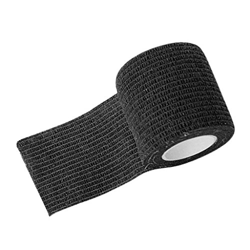 2 in Wide Nonwoven Self Adhesive Elastic Bandage Wrap Cohesive Tape for Tattoo Machine Grip Tube, Sport Binding Joints Support - Black