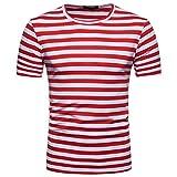 OHQ Blusa Superior de la Camiseta del Verano del Cuello Redondo de la Raya de los Hombres Ocasionales,Camisa de Hombre Camisa de Hip Hop Camiseta Hombre Camiseta de Hombre Camisa Hipster (M, Rojo)