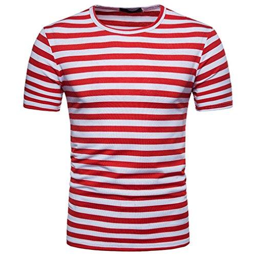 OHQ Blusa Superior de la Camiseta del Verano del Cuello Redondo de la Raya de los Hombres Ocasionales,Camisa de Hombre Camisa de Hip Hop Camiseta Hombre Camiseta de Hombre Camisa Hipster (L, Rojo)