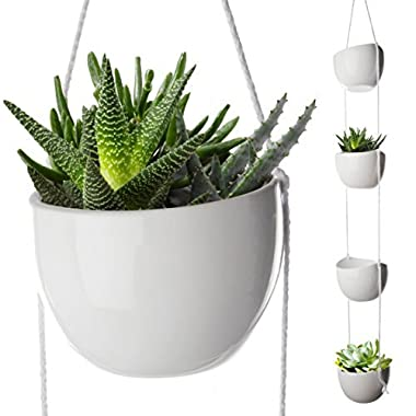 4 Piece Modern Ceramic Hanging Planters for Indoor Plants, Outdoor Planter, Succulent Plants Pots, Decorative Display Bowls, Flowerpot Containers for Moss, Cacti, Flowers, White, By California Home
