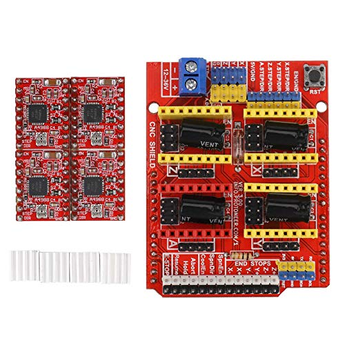 Camisin 3D CNC Shield Board for R3 + 4Pcs A4988 Stepper Motor Driver for 3D Printer