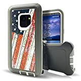 Samsung Galaxy S9 Plus Case,Vodico Durable Heavy Duty Camo Defender Non Slip Secure Grip Shockproof High Impact Resistant TPU Cushion Frame Cover with Belt Clip Holster&Kickstand for S9+ (US Flag)