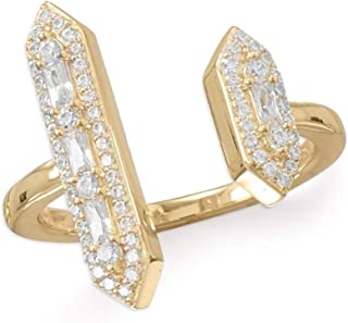 Gold-plated Sterling Silver Double Bar Ring with Cubic Zirconia Accents