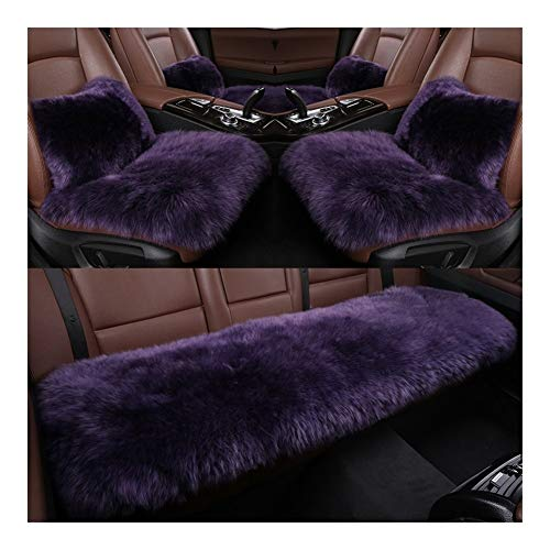 Car seat Winter Car Seat Cover Three-piece Natural Plush/pure Wool Car Seat Cover Winter, Suitable for Most Cars Memory foam pad (Color : Lilac)