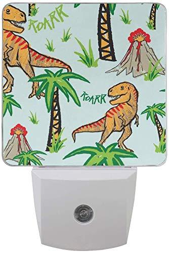 Paquete de 2 lámparas LED de luz nocturna con diseño de dinosaurio con palmera con sensor de atardecer a amanecer para dormitorio, baño, pasillo, escaleras, 0,5 W, EU Jack