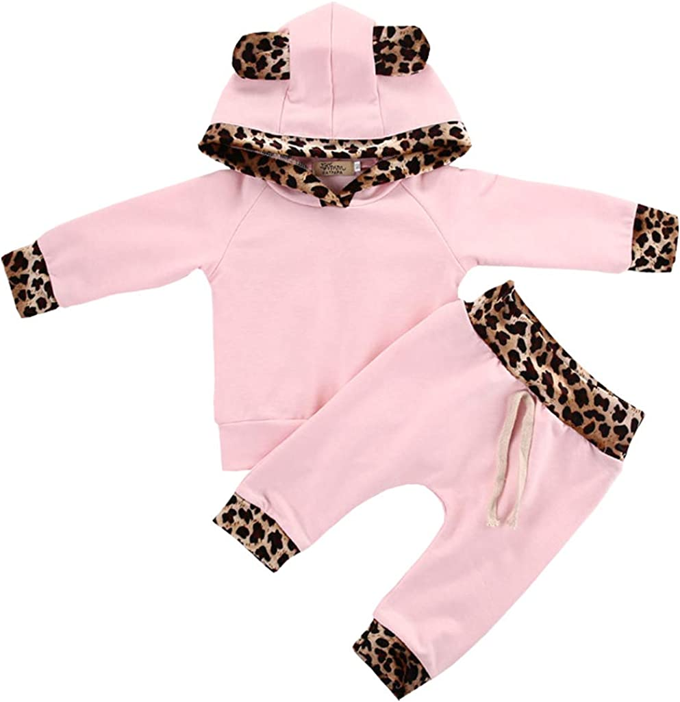 Baby Girls Newborn Clothing Sets Flowers Pink Leopard Long Sleeve Hoodie Tops Pants Outfit