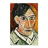 NCCDY Poster de peinture à l'huile Paolo Picasso autoportrait, peinture à l'huile décorative sur toile pour salon, chambre à coucher, 60 x 90 cm