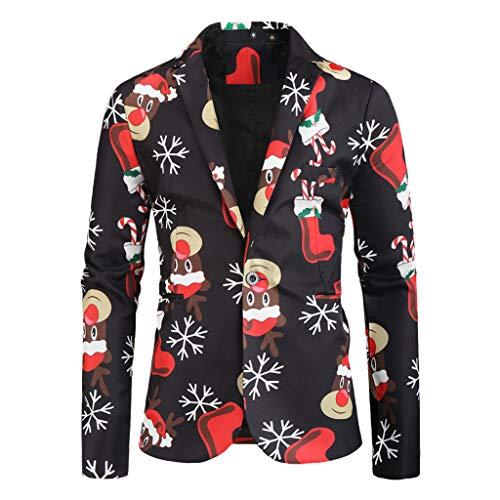 Hniunew Elegant Blazer Weihnachtsmuster Drucken Strickjacke Weihnachtsjacke Weihnachtsanzug Herren Freizeit Festmantel Ballanzug Hochzeitsanzug MäNner Langarm Einreiher Weihnachtem Suit Coat