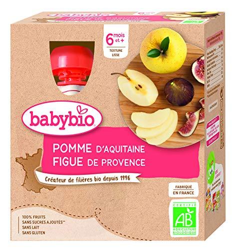 Babybio - Gourdes Fruits - Pomme Figue 4x90 g - 6+ Mois - BIO