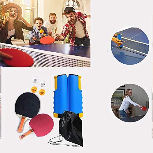 BCQ Professioneller Tischtennis-schläger (2 Tischtennisschläger und 4 Tischtennisbälle 1 einziehbares Netz), Ideal für Anfänger, Familien und Profi, für alle Altersgruppen