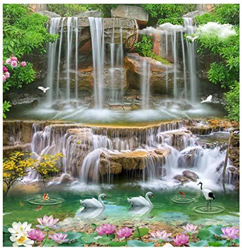 MKmd-s Geometric Background Stereoscopic 3D Mural, Waterfall Landscape Pink White Lotus