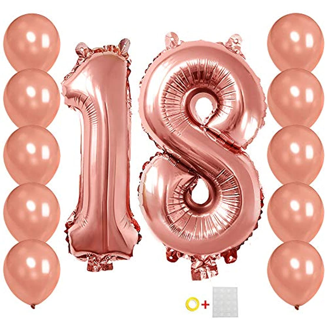 Number 18 Balloons 40 inches Rose Gold 18th Birthday Helium Foil Mylar Balloon+10Pcs Latex Balloons Birthday Decorations & Supplies