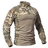 CARWORNIC Men's Tactical Military Assault Combat Shirt Long Sleeve Camo T Shirt