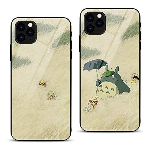 2 PCS para el Caso del iPhone 11, contraportada de Vidrio Templado Marco de TPU Carcasa híbrida Totoro Cute Cartoon Cases Funda de Silicona a Prueba de Golpes a Prueba de arañazos Compatible