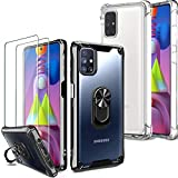 Milomdoi [4 Einheits] 2 Pcs Hülle für Samsung Galaxy M51 + 2 Stücks Schutzfolie [Hartplastik ZurückundFlexibler TPU-Rahmen + TPU Hülle ][Militärqualität] mit 360°Metallring für Samsung M51 Hülle