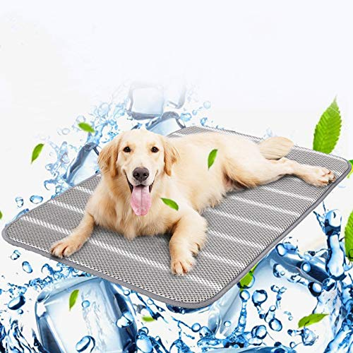 Pets Cooling Mat, 3D Air Fabric Cooling Memory Foam Dog Mat, Washable Anti Slip Puppy Blanket Mesh Breathable Dog Cushion Sleep Bed for Small Medium Large Pet Home Travel, Protect Bones from Pain