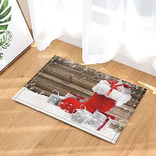 Kerstdecoratie Kerstcadeau Rode laarzen Snowboard Kinderbadkamer tapijt toiletdeur mat woonkamer 50X80CM badkameraccessoires