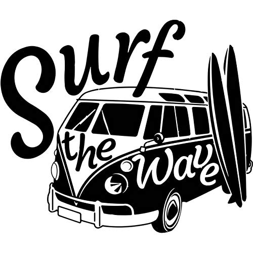 hwhz 50 X 42 cm Modern Wall Decal Surf The Wave with Camper Car Wall Sticker Old Vintage Auto Car Wall Mural Vinyl Camper Van Wall Poster
