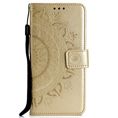 FEYYXI Handyhülle für Moto G7 / G7 Plus Hülle Leder Schutzhülle Brieftasche mit Kartenfach Stoßfest Handyhülle Case für Motorola Moto G7 / G7Plus - FEHH11292 Gold
