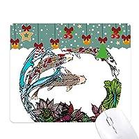 蓮の葉のパターン形状の鯉 ゲーム用スライドゴムのマウスパッドクリスマス