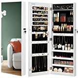 SONGMICS Jewelry Cabinet Armoire, Lockable Wall-Mounted Storage Organizer Unit with 2 Plastic Cosmetic Storage Trays, Full-Length Frameless Mirror, for Necklace Earring, White UJJC001W01