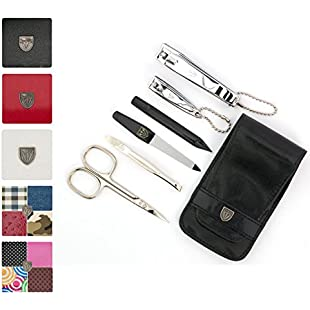 Customer reviews 3 Swords Germany - brand quality 6 piece manicure pedicure grooming kit set for professional finger & toe nail care scissors clipper fashion leather case in gift box, Made by 3 Swords (884015):Interoot