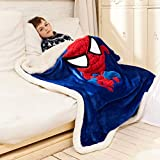 Spiderman Throw Blanket for Kids, 3D Anime Embroidery Sherpa...