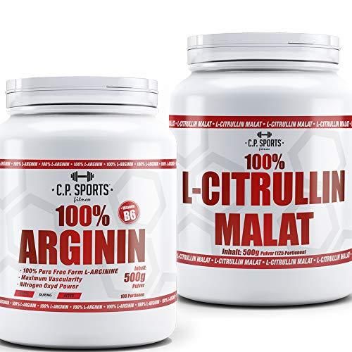 C.P. Sports 100% Arginin + C.P. Sports 100% L-Citrullin Malat KOMBI-Angebot, Kapseln oder Pulver, hochwertige Aminosäuren, hochdosiert, geeignet als Nahrungsergänzung für Bodybuilding und Fitness