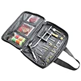 Kamenda 1 juego de herramientas de montaje de moscas para la pesca con moscas en una bolsa de transporte portátil que incluye una pinza para lata para clasificar y etc.