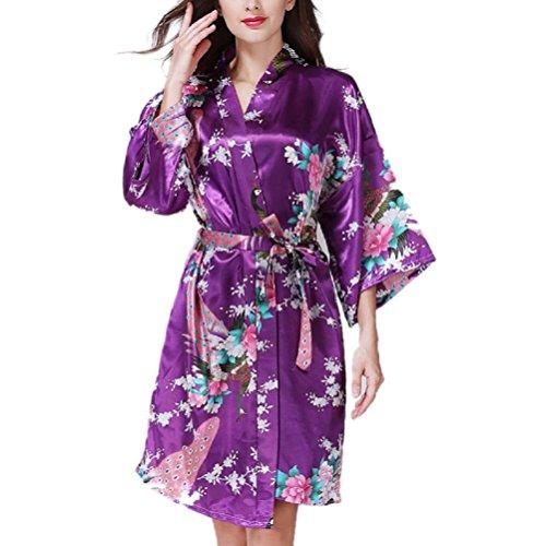 Donna Vestaglie Scollo a V Bohemien Hippie Chic Kimono Giapponese Corto Maniche 3/4 in Raso Con Cintura Accappatoio Vestito Robe con Pavone Esotici Fiore Pigiama Camicie da Notte Elegante Nightgown