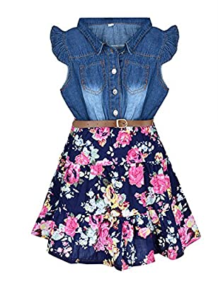 YJ.GWL Girls Dresses Denim Floral Swing Skirt with Belt Girls Fashion Clothes for 6-7 Years Size 140 Blue