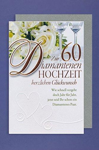 Diamant 60 Hochzeit Grußkarte Foliendruck Blumen Gläser Feier 16x11cm