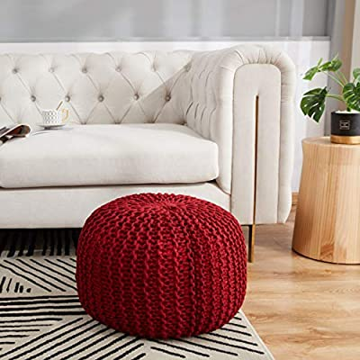 "Cheer Collection 18"" Round Pouf Ottoman - Chunky Hand-Knit Decorative and Comfortable Foot Rest, Burgundy"