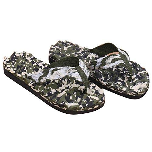Han Shi Men Sandals, Summer Camouflage Flip Flops Home Beach Casual Shoes Slipper (Green, 10)